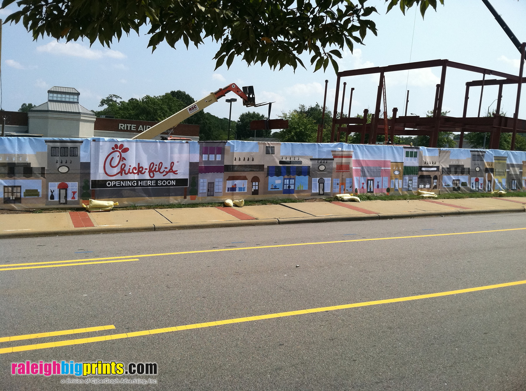Construction Fence Mesh Banner - Raleigh Big Prints - Cameron Village Chick-fil-A